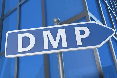 debt management: DMP - Debt Management Plan or Data Management Platform - illustration with street sign in front of office building.