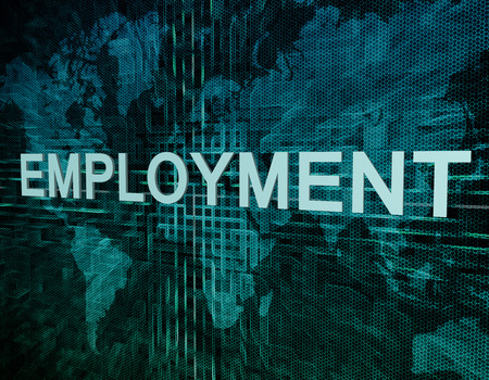 Employment text concept on green digital world map background  photo
