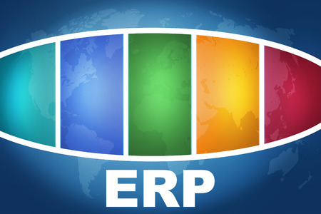 ERP - Enterprise Resource Planning text illustration concept on blue background with colorful world map illustration