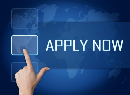Apply now concept with interface and world map on blue background photo