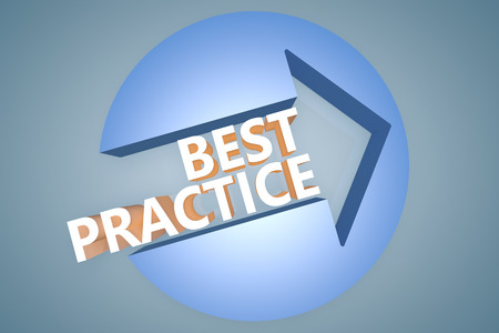 best practices: Best Practice - 3d text render illustration concept with a arrow in a circle on blue-grey background