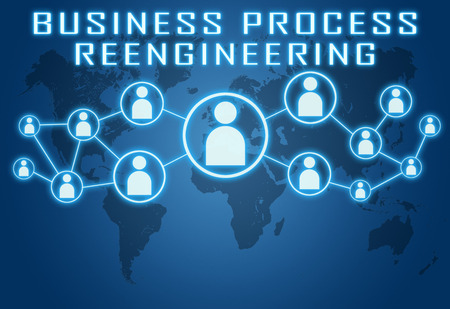business process reengineering: Business Process Reengineering concept on blue background with world map and social icons.