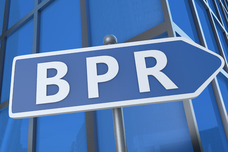 redesign: BPR - Business Process Reengineering - illustration with street sign in front of office building. Stock Photo