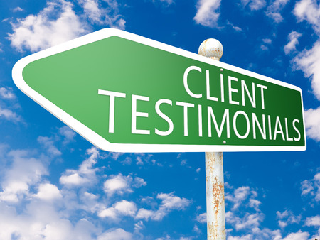 affirmations: Client Testimonials - street sign illustration in front of blue sky with clouds.