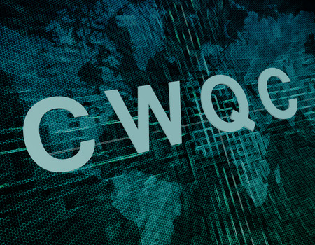 structuring: CWQC - Company Wide Quality Control text concept on green digital world map background