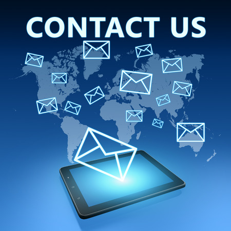 contact person: Contact us illustration with tablet computer on blue background