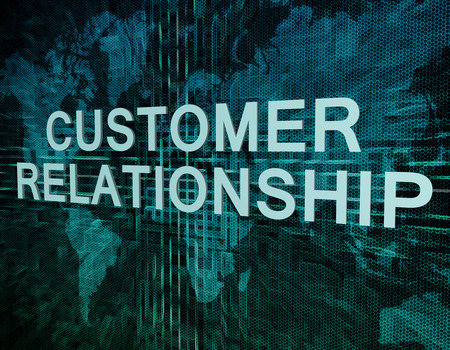 Customer Relationship text concept on green digital world map background  photo