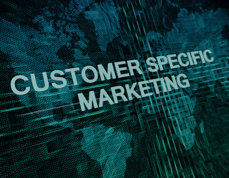 Customer Specific Marketing text concept on green digital world map background  photo
