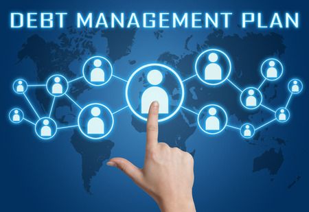 debt management: Debt Management Plan concept with hand pressing social icons on blue world map background. Stock Photo