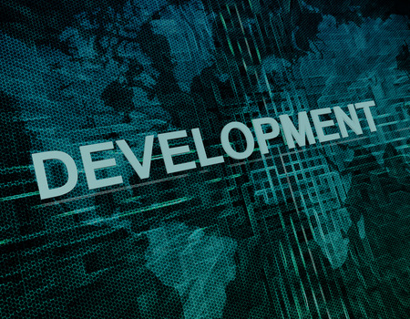 Development text concept on green digital world map background  photo