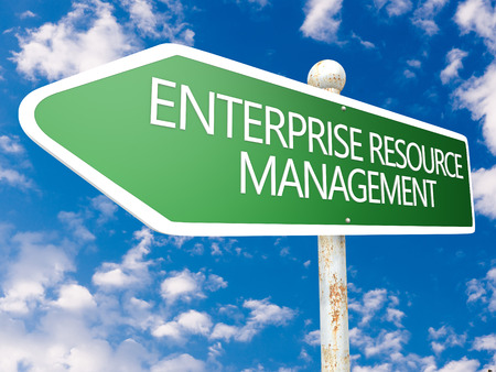 Enterprise Resource Management - street sign illustration in front of blue sky with clouds. illustration