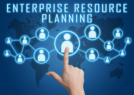 Enterprise Resource Planning concept with hand pressing social icons on blue world map background. Stock Photo