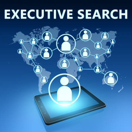 executive job search: Executive Search illustration with tablet computer on blue background