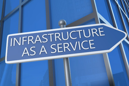 Infrastructure as a Service - illustration with street sign in front of office building. illustration