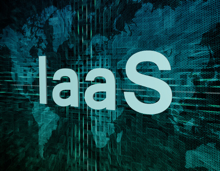 private server: IaaS - Infrastructure as a Service text concept on green digital world map background