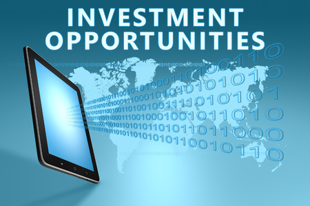 Investment Opportunities illustration with tablet computer on blue background illustration