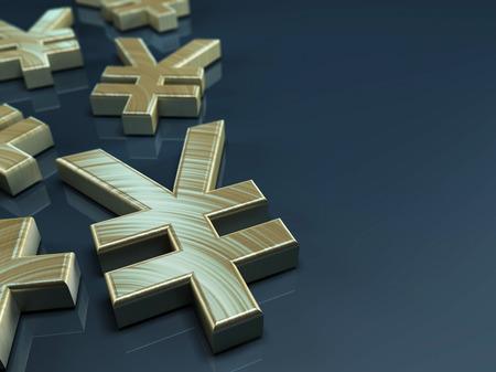 rin: 3D illustration with japanese yen symbol on blue-grey background Stock Photo