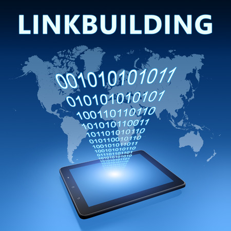backlink: Linkbuilding illustration with tablet computer on blue background