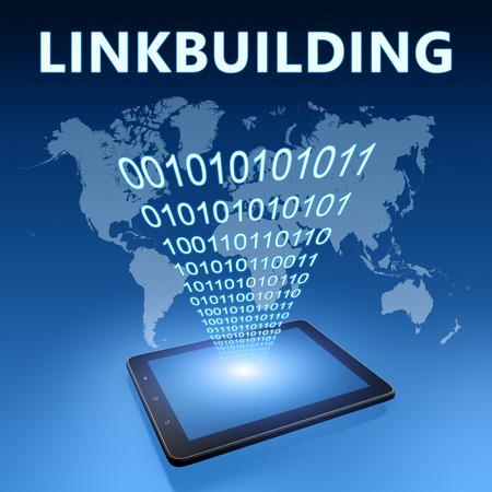 linkbuilding: Linkbuilding illustration with tablet computer on blue background