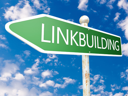 linkbuilding: Linkbuilding - street sign illustration in front of blue sky with clouds. Stock Photo