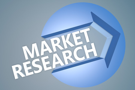 Market Research - 3d text render illustration concept with a arrow in a circle on blue-grey background illustration