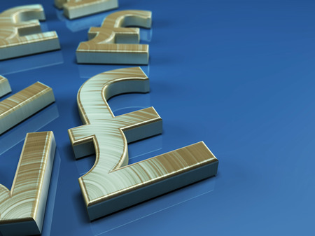 3D illustration with pound sterling symbol on blue background