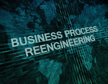 business process reengineering: Business Process Reengineering text concept on green digital world map background  Stock Photo