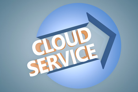 Cloud Service - 3d text render illustration concept with a arrow in a circle on blue-grey background illustration