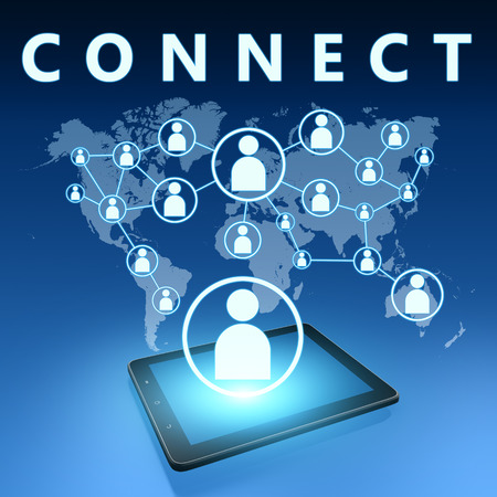 Connect illustration with tablet computer on blue background illustration