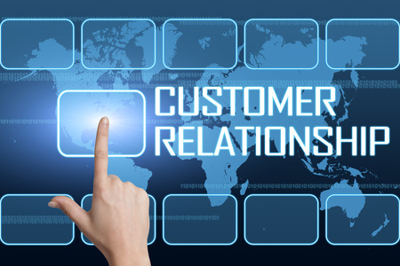 Customer Relationship concept with interface and world map on blue background photo