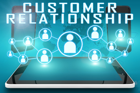Customer Relationship - text illustration with social icons and tablet computer and mobile cellphones on cyan digital world map background illustration