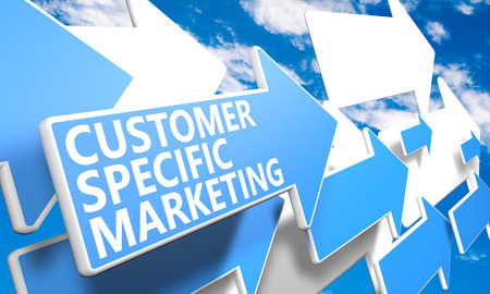Customer Specific Marketing 3d render concept with blue and white arrows flying in a blue sky with clouds photo