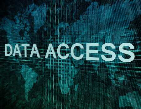 Data Access text concept on green digital world map background  photo