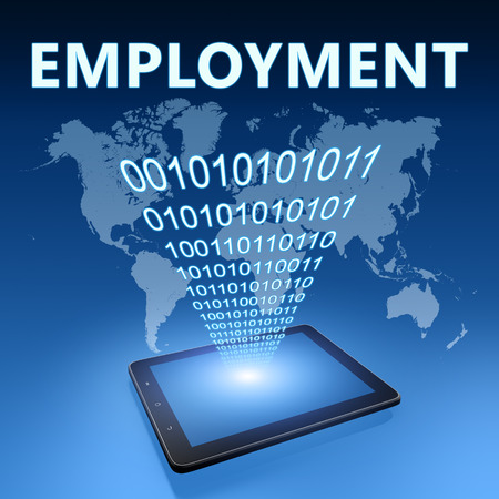 Employment illustration with tablet computer on blue background illustration