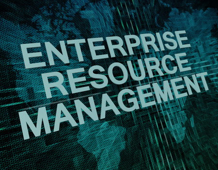 Enterprise Resource Management text concept on green digital world map background  photo