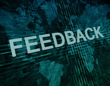 Feedback text concept on green digital world map background  photo