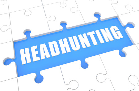 Headhunting - puzzle 3d render illustration with word on blue background illustration