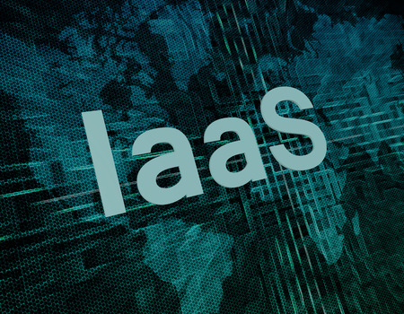 IaaS - Infrastructure as a Service text concept on green digital world map background  photo
