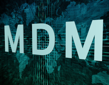 MDM - Mobile Device Management text concept on green digital world map background  photo