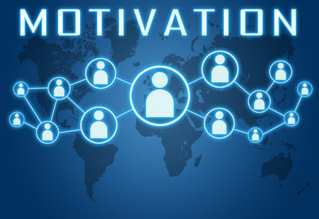 Motivation concept on blue background with world map and social icons. photo