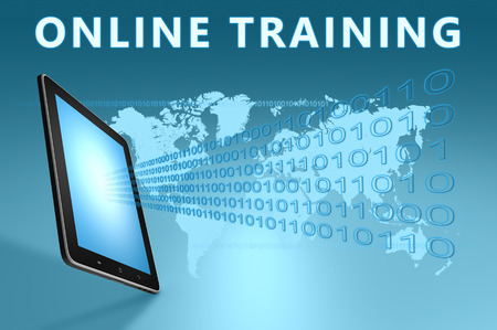 business training: Online Training illustration with tablet computer on blue background