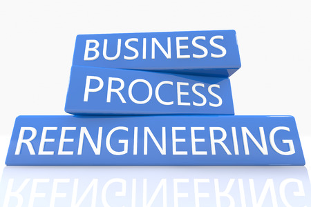 business process reengineering: 3d render blue box with text Business Process Reengineering on it on white background with reflection