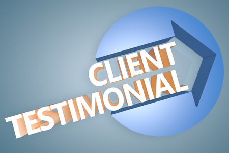 affirmations: Client Testimonial - 3d text render illustration concept with a arrow in a circle on blue-grey background