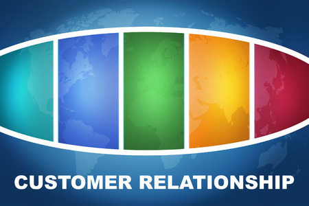 Customer Relationship text illustration concept on blue background with colorful world map illustration