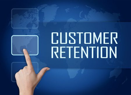 Customer Retention concept with interface and world map on blue background photo