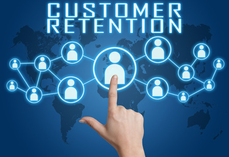 Customer Retention concept with hand pressing social icons on blue world map background. photo