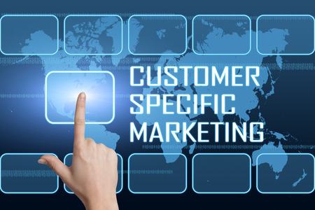 Customer Specific Marketing concept with interface and world map on blue background photo