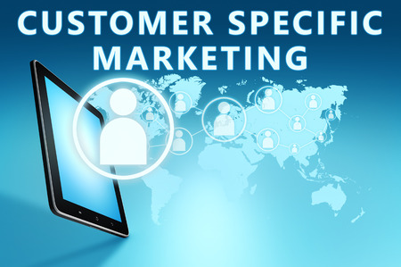 specific: Customer Specific Marketing illustration with tablet computer on blue background