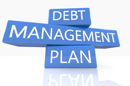 debt management: 3d render blue box with text Debt Management Plan on it on white background with reflection