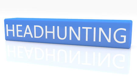 headhunting: 3d render blue box with text Headhunting on it on white background with reflection Stock Photo